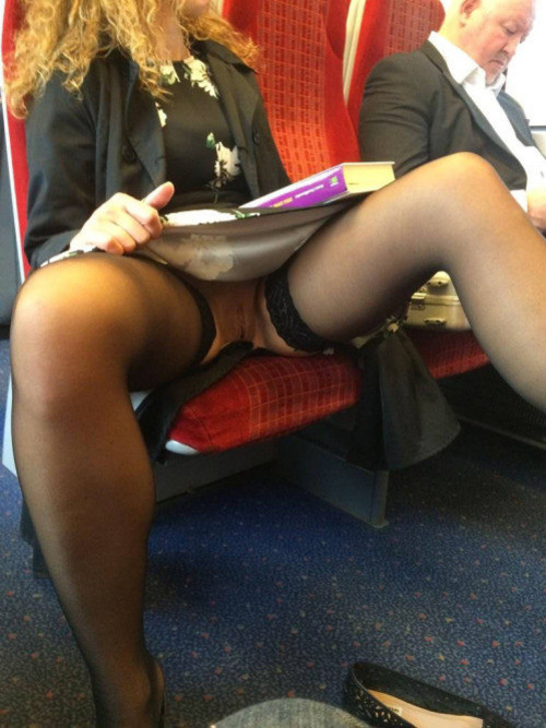 Picture woman flashing pussy in public train