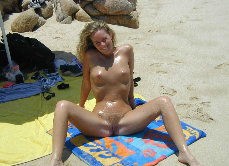 Hairy blonde wife naked at the beach