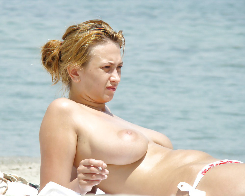 Romanian Girl with Big Boobs Topless on the Beach