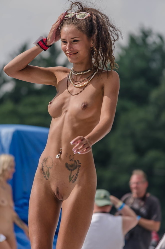 Picture nudist hipster girl at festival