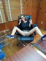 Picture mature secretary flashing pussy no panties at office desk