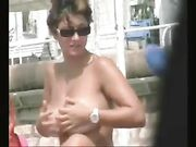 Sexy Women with Big Tits Topless at the Beach