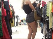 Candid Shot in Store Hot Girl in Tight Short Pants