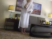 Blonde Girl Flashes Naked in Front of Room Service Guy