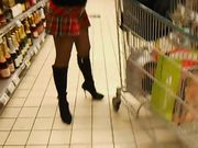 Wife in Sexy Skirt Flashing Pussy in Supermarket