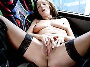 Wife Caught Naked in the Bus Masturbating