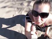 Nude Beach Blowjob Girlfriend Sucking Cock and Getting Facial