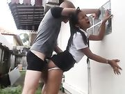 Hot Thai Chick Fucking Outdoor and Getting a Huge Load on Face