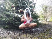 Hot Woman Flashing Nude by the Christmas Tree