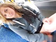 Cute Dutch girl flashing nude and masturbating in public tram
