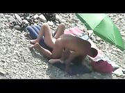 Nudist Mature Couple Spied on Camera Making Sex on Beach