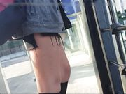 Candid hidden camera caught filming hot girl with sexy legs