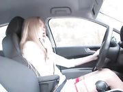 Naked blonde fingering her pussy and dildo penetration in car
