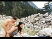 Exhibitionist couple fucking doggystyle outdoor in the mountains