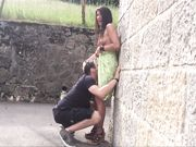 Tourist couple doing outdoor sex and filming